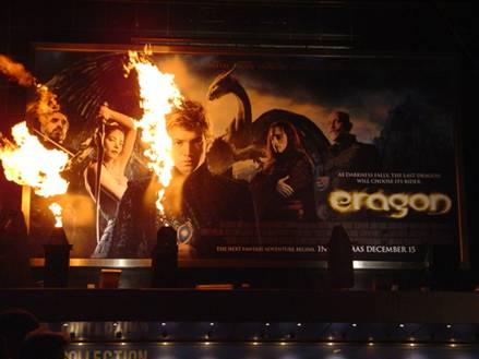 Flame effects for Eragon Premiere