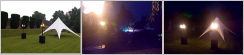Langley House flambes and wash lights