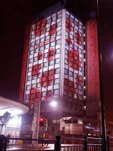 Oldham Civic Hall Poppy week building projection