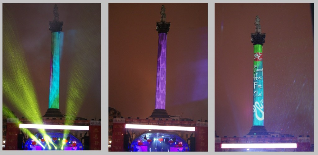 Searchlights and projection onto Nelson's column