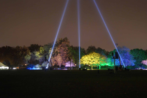 Tree uplighting & searchlights Battersea Park Fireworks