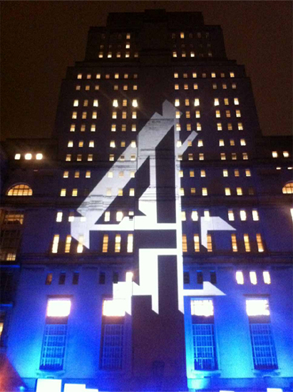 Outdoor Building projection onto Senate House for Channel 4