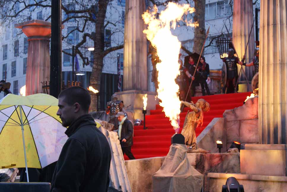 Flame effects at UK Premiere of Clash of the Titans