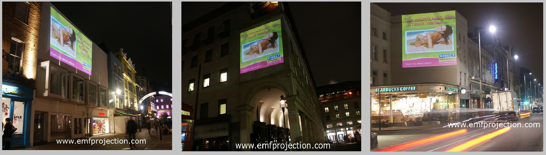 Advertising Building Projection campaign -Direct Holidays