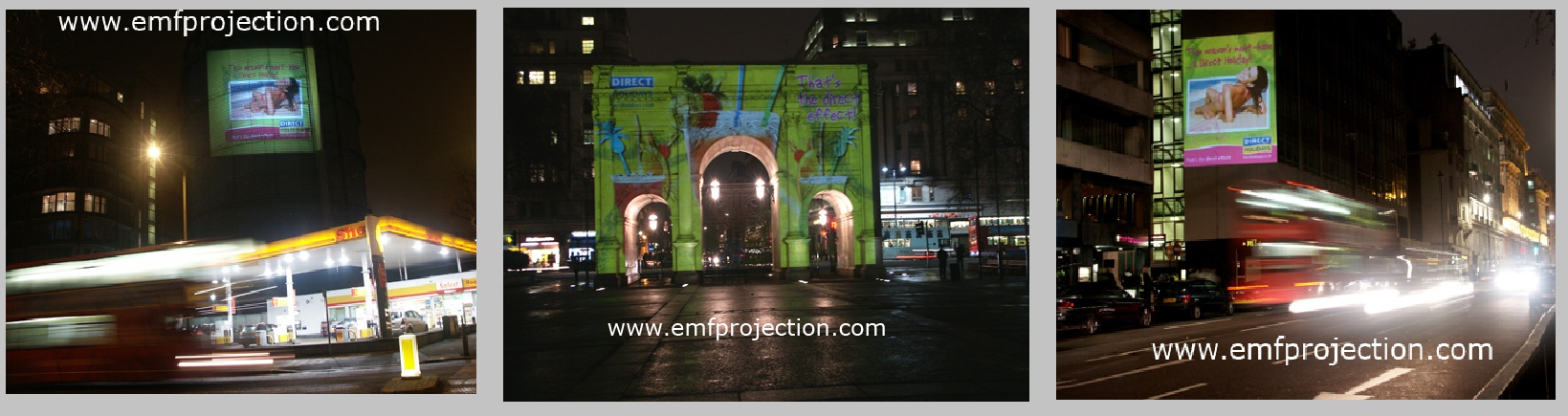 Direct Holiday projection advertising campaign accross the UK