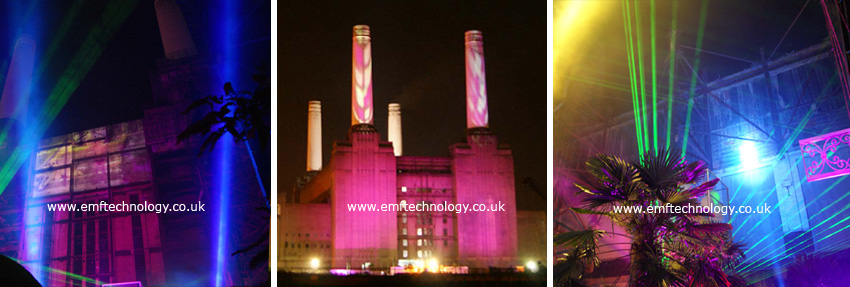 Lighting and Laser show at Battersea Power Station