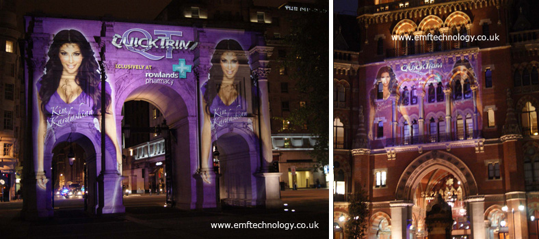 Massive outdoor projection advertising campaign for Kim Kardashian's new Quick Trim product.