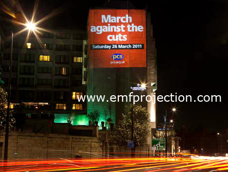 Building Projection Campaign round London for PCS