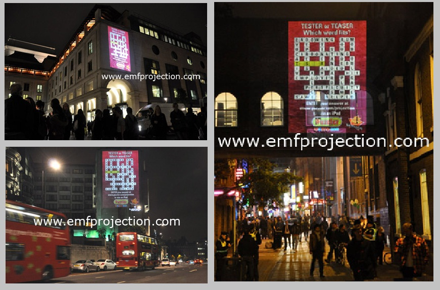 Puzzler Outdoor Building Projection campaign around London