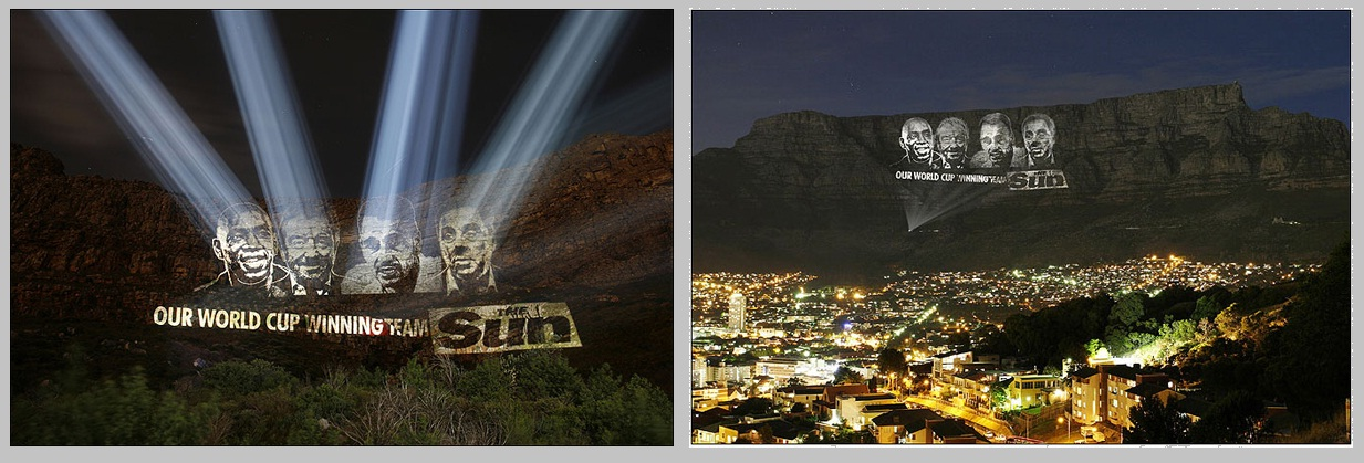 Massive outdoor large scale projection onto Table Mountain