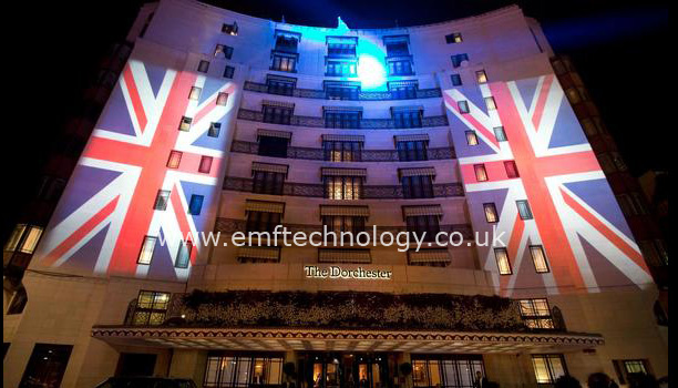 Massive Union Jack Flags projected onto The Dorchester for Help for Heroes / Fashion for the Brave