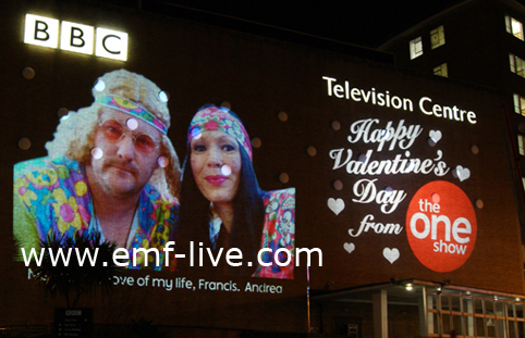 Massive outdoor Projection onto BBC Centre for The One Show
