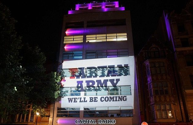 Capital Radio Projection for Tartan Army