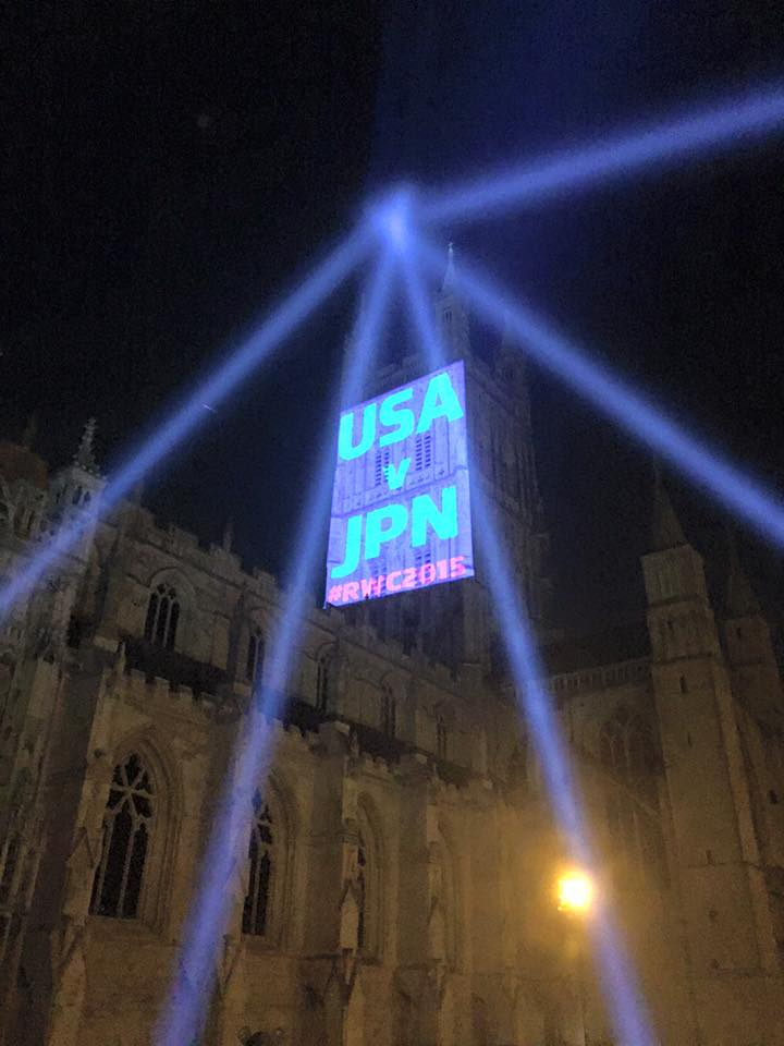 Gloucester Cathedral Projections for World Rugby Cup