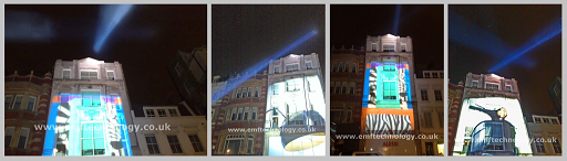 Peroni product launch with search lights and projection campaign, London