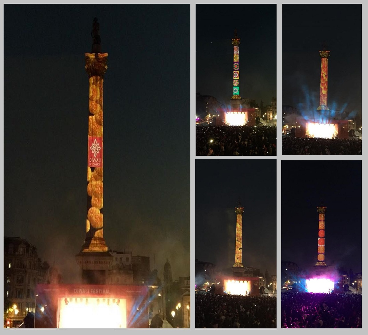 Diwali projections, Nelson's Column London