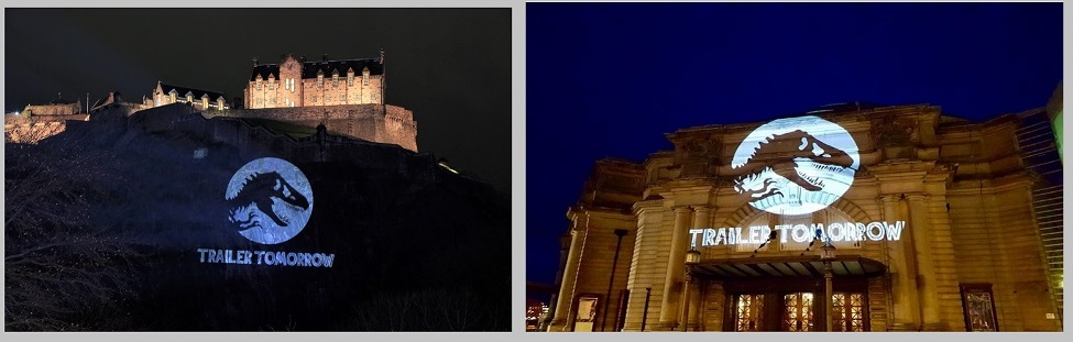 Jurassic Park projections Usher Hall & Edinburgh Castle