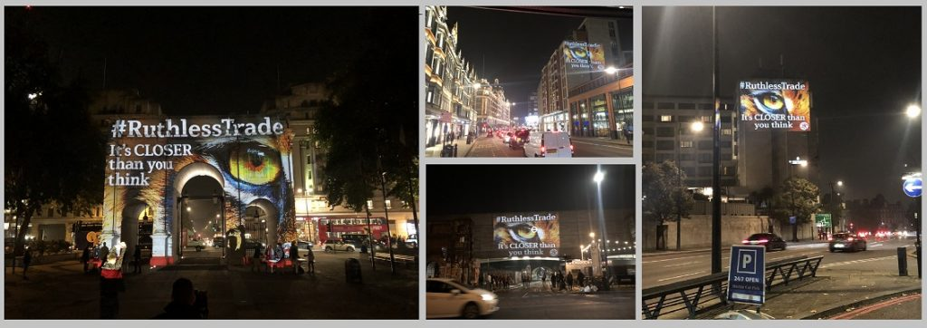 Tiger projections campaign across London for #Ruthless