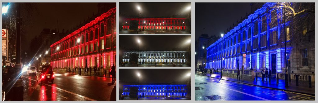 Whitehall marks Brexit with whole facade lit up in red, white and blue.